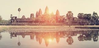 Ο ναός Wat Angkor, Siem συγκεντρώνει, Καμπότζη Αναδρομική επίδραση Στοκ εικόνα με δικαίωμα ελεύθερης χρήσης