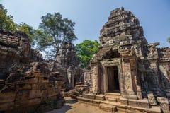 Ο ναός Wat Angkor, Siem συγκεντρώνει, καταστροφές της Καμπότζης Στοκ Εικόνα