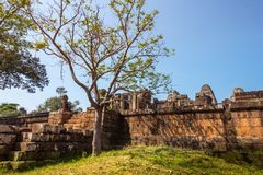 Ο ναός Wat Angkor, Siem συγκεντρώνει, καταστροφές της Καμπότζης Στοκ Φωτογραφίες