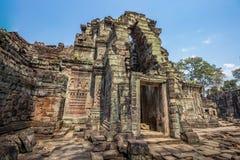Ο ναός Wat Angkor, Siem συγκεντρώνει, καταστροφές της Καμπότζης Στοκ Εικόνες