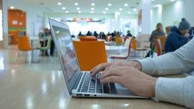 Ο νεαρός άνδρας εργάζεται για ένα lap-top απόθεμα βίντεο