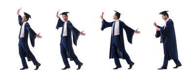 Ο νεαρός άνδρας ευχαριστημένος από τη βαθμολόγησή του που απομονώνεται στο λευκό στοκ εικόνες