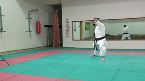 Ο νεαρός άνδρας με το muscled σώμα, πολεμικές τέχνες goju-Ryu κατάρτισης karate-κάνει έξοχο σε αργή κίνηση φιλμ μικρού μήκους