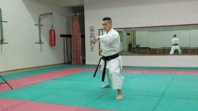 Ο νεαρός άνδρας με το muscled σώμα, πολεμικές τέχνες goju-Ryu κατάρτισης karate-κάνει έξοχο σε αργή κίνηση απόθεμα βίντεο