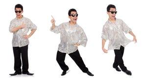 Ο νεαρός άνδρας πουκάμισο που απομονώνεται στο ασημένιο στο λευκό Στοκ Φωτογραφίες