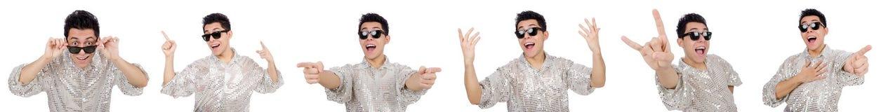 Ο νεαρός άνδρας πουκάμισο που απομονώνεται στο ασημένιο στο λευκό Στοκ Εικόνες