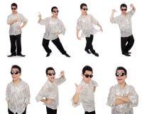 Ο νεαρός άνδρας πουκάμισο που απομονώνεται στο ασημένιο στο λευκό Στοκ εικόνες με δικαίωμα ελεύθερης χρήσης