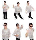 Ο νεαρός άνδρας πουκάμισο που απομονώνεται στο ασημένιο στο λευκό στοκ φωτογραφίες με δικαίωμα ελεύθερης χρήσης