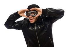 Ο νεαρός άνδρας με τα γυαλιά αεροπόρων στο λευκό Στοκ Εικόνες