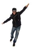 Ο νεαρός άνδρας με τα γυαλιά αεροπόρων στο λευκό Στοκ Φωτογραφία
