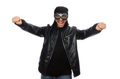 Ο νεαρός άνδρας με τα γυαλιά αεροπόρων στο λευκό Στοκ Εικόνα