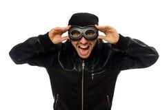 Ο νεαρός άνδρας με τα γυαλιά αεροπόρων στο λευκό Στοκ εικόνα με δικαίωμα ελεύθερης χρήσης