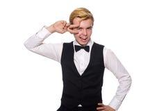 Ο νεαρός άνδρας στη μαύρη κλασική φανέλλα Στοκ Εικόνα