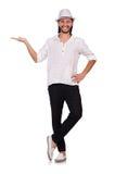 Ο νεαρός άνδρας στο καπέλο στο λευκό Στοκ Φωτογραφίες