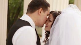 Ο νεόνυμφος αγκαλιάζει τη νύφη στη φύση απόθεμα βίντεο