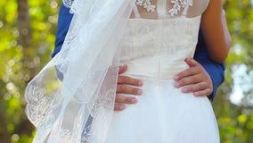 Ο νεόνυμφος αγκαλιάζει τη νύφη στο πάρκο το καλοκαίρι, άνοιξη ερωτευμένο αγκάλιασμα ζευγών στο θερινό κήπο απόθεμα βίντεο