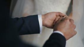 Ο νεόνυμφος βάζει το γαμήλιο δαχτυλίδι στο δάχτυλο της νύφης Χέρια γάμου με τα δαχτυλίδια Ο γάμος ανταλλαγής νυφών και νεόνυμφων φιλμ μικρού μήκους
