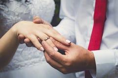 Ο νεόνυμφος βάζει το δαχτυλίδι στο δάχτυλο της νύφης, δίνει την κινηματογράφηση σε πρώτο πλάνο στοκ φωτογραφία με δικαίωμα ελεύθερης χρήσης