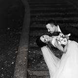 Ο νεόνυμφος κάμπτει τη νύφη πέρα από τη στάση στα καλυμμένα βήματα WI πάρκων Στοκ φωτογραφία με δικαίωμα ελεύθερης χρήσης
