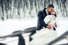 Ο νεόνυμφος φιλά μια νύφη σε ένα άσπρο παλτό γουνών που κρατά την στα όπλα του Στοκ Φωτογραφία