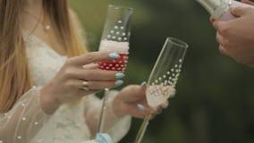 Ο νεόνυμφος χύνει τη ρόδινη σαμπάνια στα ποτήρια που κατέχει η νύφη απόθεμα βίντεο