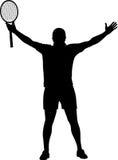 Ο νικητής αντισφαίρισης αύξησε τα χέρια του Στοκ εικόνες με δικαίωμα ελεύθερης χρήσης