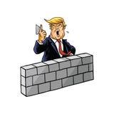 Ο Ντόναλντ Τραμπ χτίζει έναν τοίχο Στοκ εικόνες με δικαίωμα ελεύθερης χρήσης