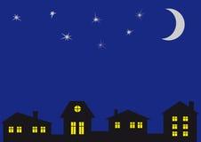 Ο νυχτερινός ουρανός και στο σπίτι. Απεικόνιση αποθεμάτων