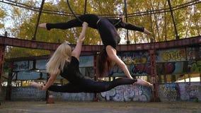 Ο ξανθός και το brunette συμμετέχει μαζί στο εναέριο acrobatics, τυλίγει στον αέρα, ο ξανθός διατηρεί απόθεμα βίντεο