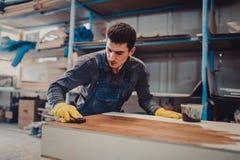 Ο ξυλουργός χρωματίζει ένα ξύλο με τη λάκκα Στοκ Φωτογραφία