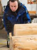 Ο ξυλουργός κόβει έναν κορμό δέντρων με το αλυσιδοπρίονο Στοκ εικόνα με δικαίωμα ελεύθερης χρήσης