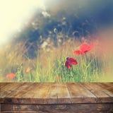 Ο ξύλινος αγροτικός πίνακας μπροστά από τις κόκκινες παπαρούνες ενάντια στον ουρανό με το φως εξερράγη φιλτραρισμένη την τρύγος ε Στοκ φωτογραφία με δικαίωμα ελεύθερης χρήσης