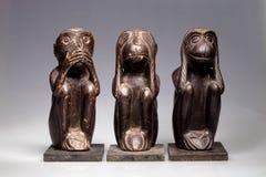 Ο ξύλινος πίθηκος, δεν μιλά, δεν μπορώ να δω, να ακούσω Στοκ εικόνες με δικαίωμα ελεύθερης χρήσης