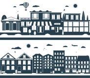 Οδοί πόλεων στο σκοτάδι και τα χρώματα λευκών Στοκ Εικόνα