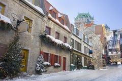 Οδοί πόλεων του Κεμπέκ, πύργος Frontenac Στοκ φωτογραφία με δικαίωμα ελεύθερης χρήσης