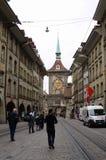 Οδοί στην παλαιά μεσαιωνική πόλη της Βέρνης, Ελβετία Στοκ Εικόνες