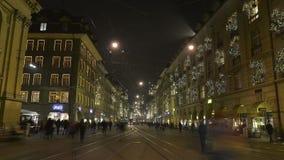 Οδοί της Βέρνης τα στις Χριστούγεννα Δεκεμβρίου απόθεμα βίντεο