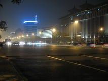Οδοί της Κίνας, Πεκίνο τη νύχτα ένας-άτομα Tian λεωφόρων Στοκ Εικόνα