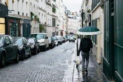 Οδοί του Παρισιού στη βροχή Στοκ Εικόνες