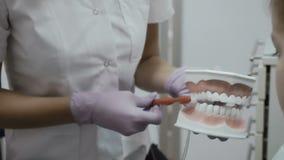 Ο οδοντίατρος επιδεικνύει πώς να καθαρίσει τα δόντια με την οδοντόβουρτσα φιλμ μικρού μήκους