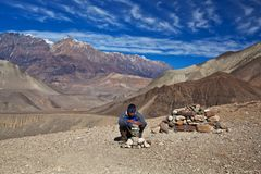 Οδοιπορία στη Annapurna περιοχή, Νεπάλ Στοκ φωτογραφία με δικαίωμα ελεύθερης χρήσης