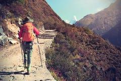 Οδοιπορία Backpacker στο ίχνος βουνών του Ιμαλαίαυ στοκ εικόνες