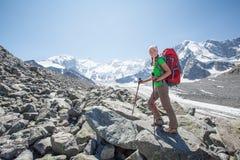 Οδοιπόρος κοντά στο βουνό Belukha στοκ φωτογραφίες