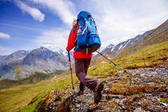 Οδοιπόρος κοντά στο βουνό Belukha στοκ εικόνες με δικαίωμα ελεύθερης χρήσης