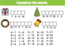 Ολοκληρώστε το εκπαιδευτικό παιχνίδι παιδιών λέξεων διανυσματική απεικόνιση