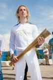 ο ολυμπιακός φανός Θεσσαλονίκης καλωσορίζει Στοκ Εικόνες