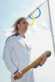 ο ολυμπιακός φανός Θεσσαλονίκης καλωσορίζει Στοκ Φωτογραφίες