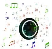 Ο ομιλητής και οι μουσικές νότες παρουσιάζουν την ακουστική ή ηχητικό σύστημα μουσικής απεικόνιση αποθεμάτων