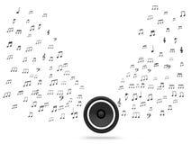 Ο ομιλητής και οι μουσικές νότες παρουσιάζουν τον ήχο ή ηχητικό σύστημα μουσικής ελεύθερη απεικόνιση δικαιώματος
