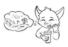 Ο ονειροπόλος πίνει το χυμό - φυσαλίδα απεικόνιση αποθεμάτων